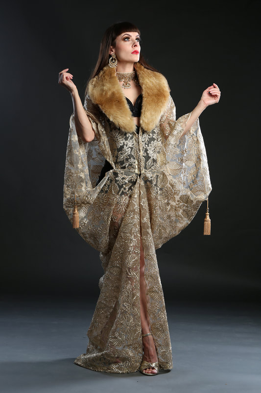 1920s champagne flapper dress coat with faux fur collar by Talulah Blue Creations