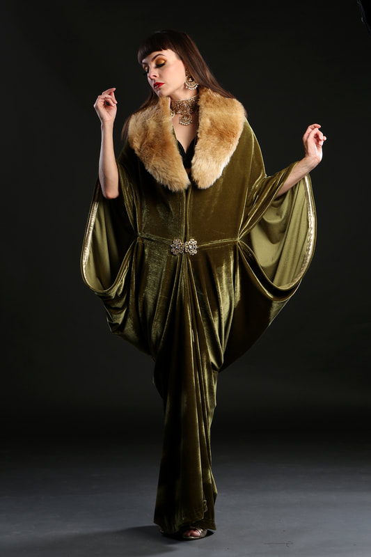 1920s velvet flapper dress coat with faux fur collar by Talulah Blue Creations