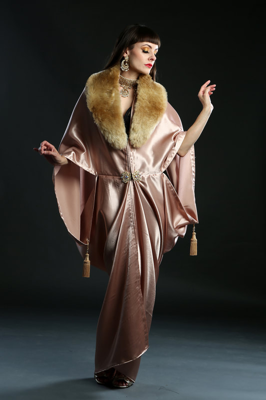 1920s Satin flapper dress coat with faux fur collar by Talulah Blue Creations www.talulahbluecreations.com
